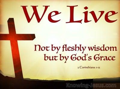 2 Corinthians 1:12 We Live by Gods Grace (beige)