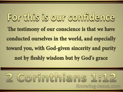 2 Corinthians 1:12 We Live by God's Grace (gold)