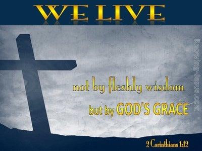 2 Corinthians 1:12 We Live by God's Grace (gray)