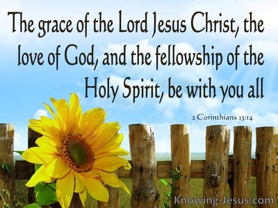 2 Corinthians 13:14 Grace Love And Fellowship (blue)