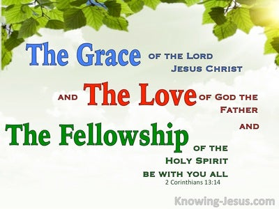 2 Corinthians 13:14 Grace Love And Fellowship (green)