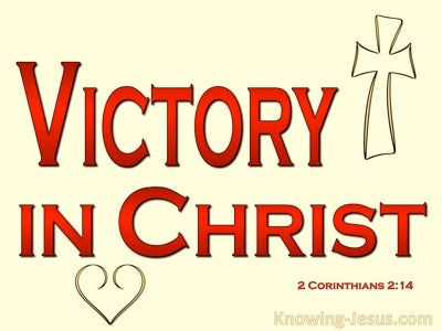 2 Corinthians 2:14 Thanks To God Victory In Christ (red)