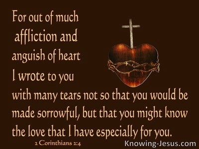 2 Corinthians 2:4 Out Of Anguish Of Heart I Wrote (brown)