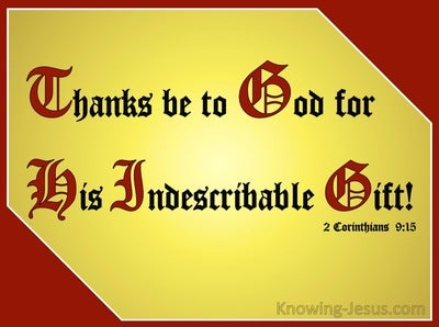 2 Corinthians 9:15 Jesus The Incomparable Gift (maroon)