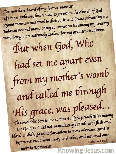 Galatians 1:15 Paul Set Apart And Called By God's Grace (beige)