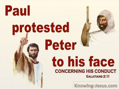 Galatians 2:11 Paul Protested Peter To His Face (beige)