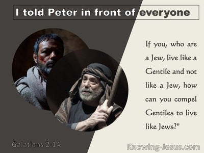 Galatians 2:14 Paul And Peter Deviating From The Truth  (brown)