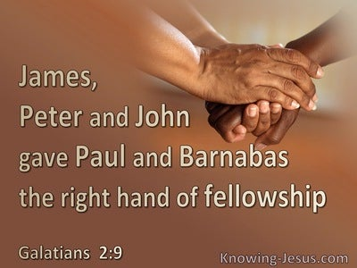 Galatians 2:9 James, Peter, John Paul Barnabas : The Right Hand Of Fellowship (brown)