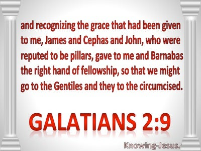 Galatians 2:9 James, Peter, John Paul Barnabas : The Right Hand Of Fellowship (red)