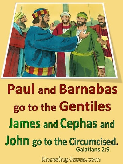 Galatians 2:9 James, Peter, John Paul Barnabas : The Right Hand Of Fellowship (yellow)