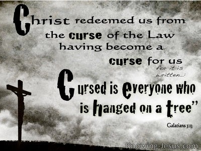 Galatians 3:13 Cursed Is He Who Hangs On A Tree (black)