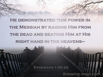 Ephesians 1:20,22 He Raised Him From The Dead And Seated Him At His Right Hand  (brown)