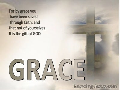 Ephesians 2:8 Saved by Grace (beige)