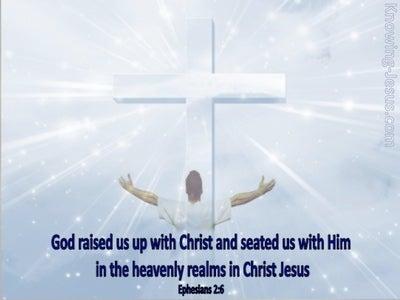Ephesians 2:6 God Raised Us Up With Christ (blue)