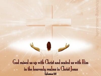 Ephesians 2:6 God Raised Us Up With Christ (pink)