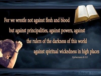 Ephesians 6:12 We Wrestle Not Against Flesh And Blood (black)