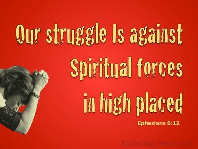 Ephesians 6:12 We Wrestle Not Against Flesh And Blood (red)