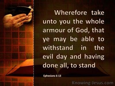Ephesians 6:13,18 Take Up The Full Armour Of God (orange)