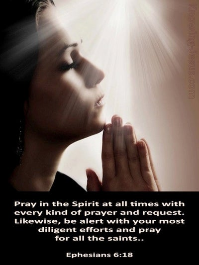 Ephesians 6:18 Pray in the Spirit At All Times (brown)