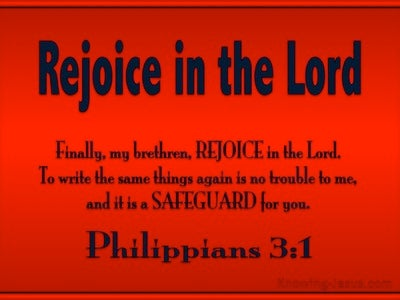 Philippians 3:1 Rejoice In The Lord (red)