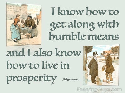 Philippians 4:12 I Can Live In Humble Means Or Prosperity (green)