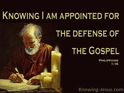 Philippians 1:16 Apointed For The Defense Of The Gospel (black)
