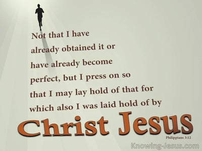 Philippians 3:12 Press On To Obtain (beige)