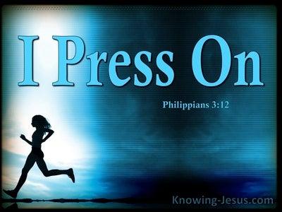 Philippians 3:12 Press On to Obtain (aqua)