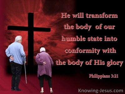 Philippians 3:21 He  Will Transform Our Lowly Body (red)