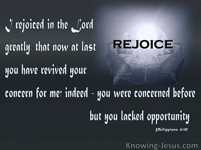 Philippians 4:10 Rejoice In The Lord (gray)