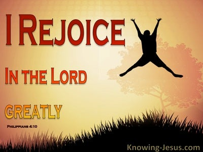 Philippians 4:10 Rejoice In The Lord (red)