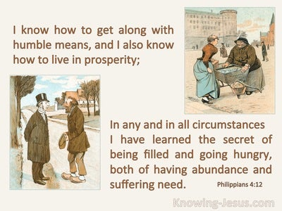 Philippians 4:12 I Can Live In Humble Means Or Prosperity (beige)