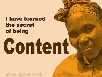 Philippians 4:12 The Secret Of Being Content (orange)