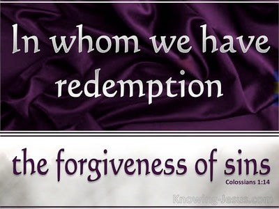 Colossians 1:14 In whom We Have Redemption (purple)