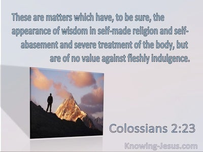 Colossians 2:23 These Matters Have An Appearance Of Wisdom But Are Of No Value (blue)