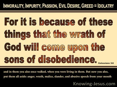 Colossians 3:6 Wrath Of God And Sons Of Disobedience (beige)