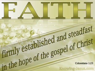 Colossians 1:23 if indeed you continue in the faith firmly established and  steadfast, and not moved away from the hope of the gospel that you have  heard, which was proclaimed in all