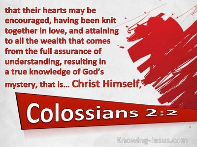 Colossians 2:2 Knit Together In Love In Christ (red)
