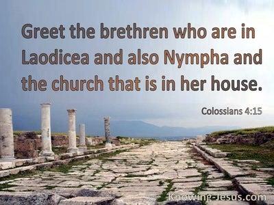 Colossians 4:15 Greet The Brethren (brown)