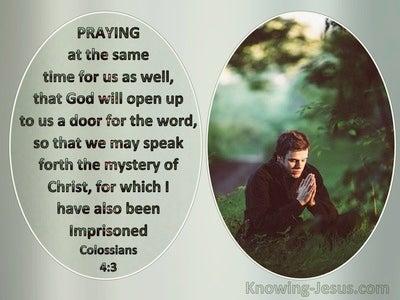 Colossians 4:3 Praying God Will Open A Door (green)
