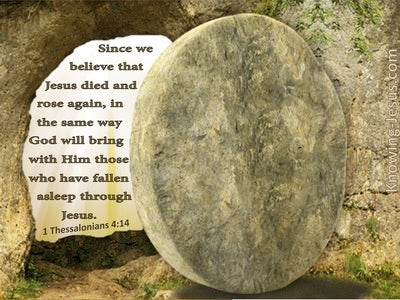1 Thessalonians 4:14 We Believe Jesus Died And Rose Again (beige)