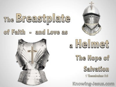 1 Thessalonians 5:8 Breast plate Of Lord And Helmet The Hope Of Salvation (gray)