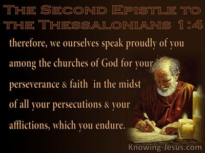 2 Thessalonians 1:4 Perseverance, Faith, Persecutions Afflictions Endurance (brown)