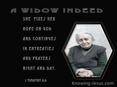 1 Timothy 5:5 She Who Is A Widow Indeed (gray)