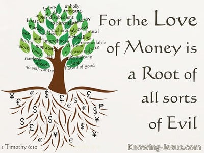 1 Timothy 6:10 The Love Of Money Is A Root Of Evil (beige)