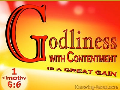 1 Timothy 6:6 Godliness With Contentment Is A Great Gain (red)