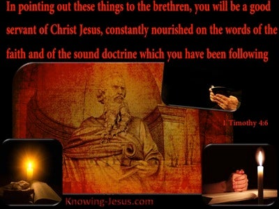 1 Timothy 4:6 Nourished On The Word Of The Faith And Sound Doctrine (red)