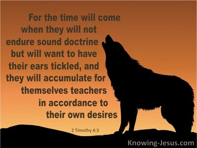 2 Timothy 4:3 They Will Not Endure Sound Doctrine (brown)