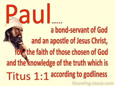 Titus 1:1 Paul A Bond Servant Of God And Apostle (red)