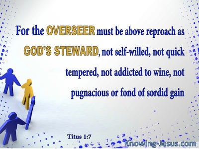 Titus 1:7 Overseers Must Be Above Reproach (blue)